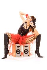 sexy woman listening music