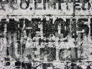 old warehouse stencils on concrete