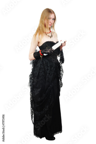 attractive gothic girl with knife