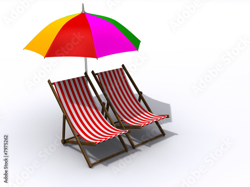 Lounge chairs and umbrela