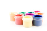 set of the watercolor gouache paints at the white background poster