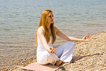 yoga outdoor pose near water
