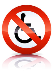 Interdiction aux handicapés (reflet métal)