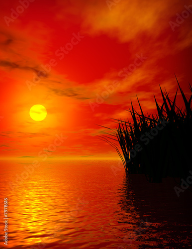 canvas print picture Sunset on lake