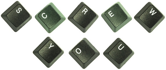 """Keyboard keys spelling out the words """"Screw you""""."""