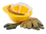 Yellow hardhat, old leather gloves and wrench  poster