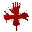 Hand gestures ink splatter concept