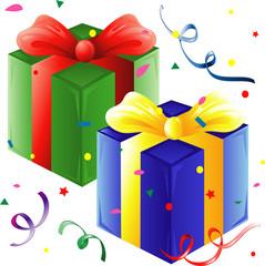 Presents and confetti