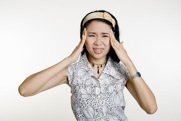 Asian Woman with headache