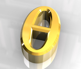 Theta symbol in gold (3d)
