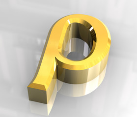 rho symbol in gold (3d)