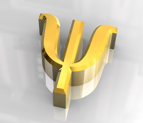 psi symbol in gold (3d)
