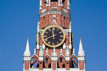 Clock on the Kremlin tower in Moscow