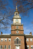 Independence Hall tower in Center City Philadelphia, USA poster