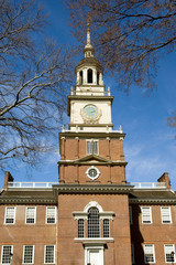 Independence Hall tower in Center City Philadelphia, USA