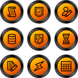 Database icons, orange circle series