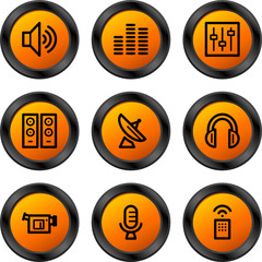 Media icons, orange circle series