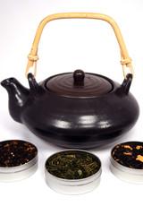 Green Tea set with various tea leaves