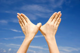 Conceptual hand gesture of world peace poster