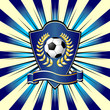 Soccer shield theme over colorful striped background