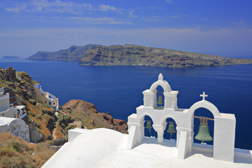 Church bells in Oia village on Santorini island, Greece