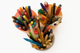 Colorful pens, felt-tips, markers and pencils in a box poster