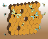 Abstract honeycomb and working bees poster