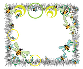 Frame with bees and colored circles
