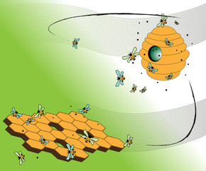 Wild beehive, abstract honeycomb and bees