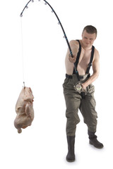 Fisherman with chicken on fishhook