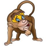 Clever Monkey - detailed illustration poster