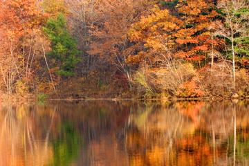 Autumn New Jersey lake in Appalachian mountains