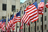 A row of American flags poster