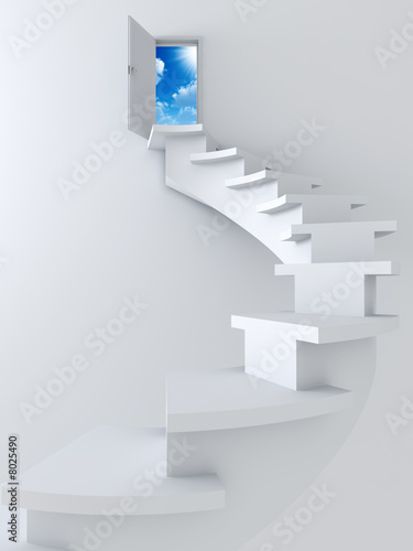 ladder and opened door with blue sky