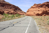 Scenic road between red rocks