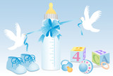 Fototapety Baby boy objects with white doves