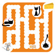 funny vector labyrinth for children entertainment with cats