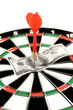 One-hundred dollar bill on a dartboard