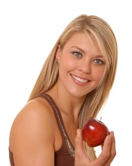 Lovely Blond Girl With an apple