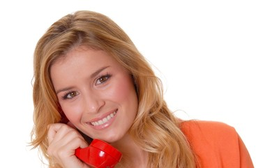 Lovely Blond Girl on telephone