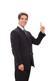 Businessman doing presentation poster