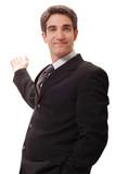 Businessman doing presentation poster