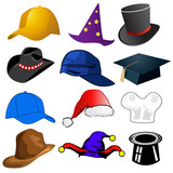 Various hats illustration clipart icons poster