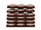 heap of chocolate slabs on white background poster
