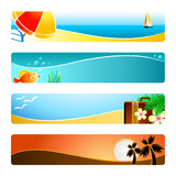 Beach time banner or header 4-color backgrounds set. poster