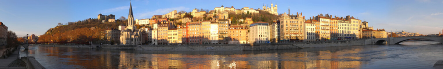 Old town of Lyon panorama from the Saone quay with Fourviere