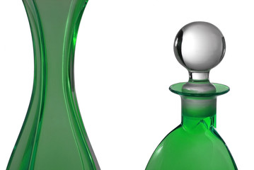 Green perfume bottles