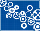 Blueprint Background with cogs poster
