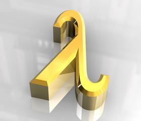 lambda symbol in gold (3d)
