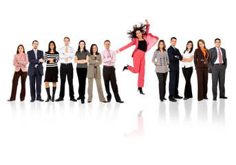 business team - woman standing out